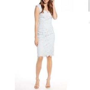 Eliza J Blue Lace Sheath Dress Petite